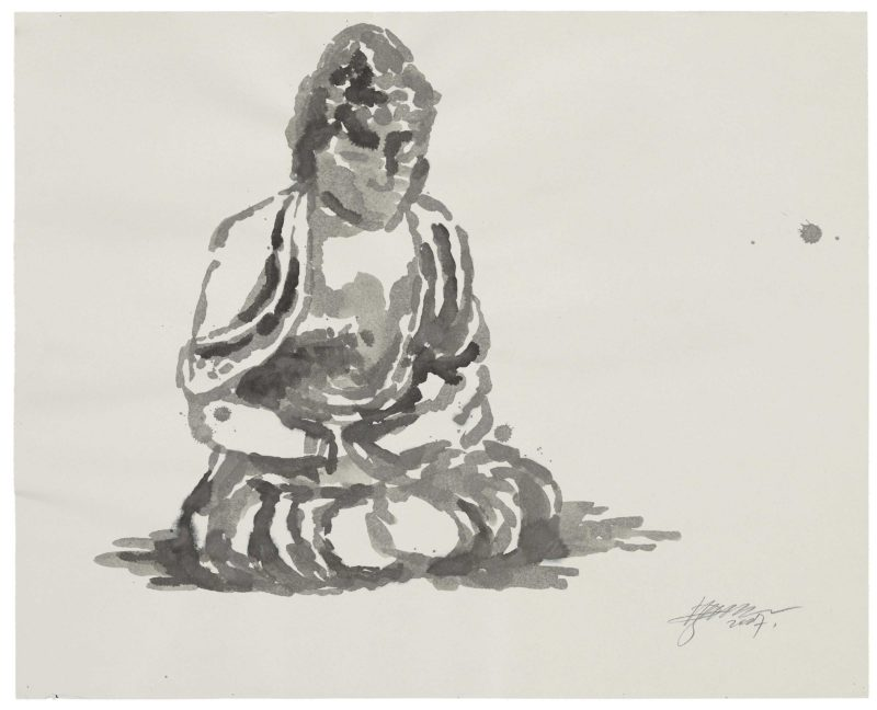 Zhang Huan - Berlin Buddha (Preparatory Drawing) 9, 2007, ink on paper, 82.5 x 102cm