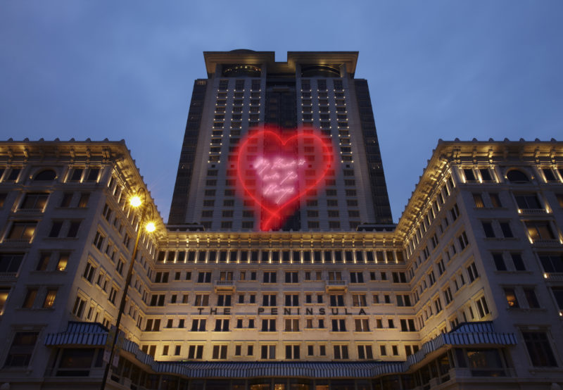 Tracey Emin - My Heart is With You Always, 2014, laser animation, The Peninsula, Hong Kong, China