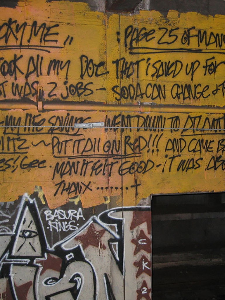 Revs & unusual graffiti: 200+ diary pages painted in NYC subway tunnels