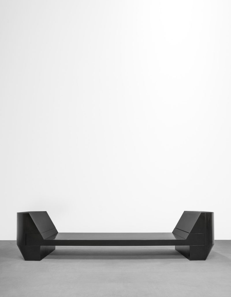 Rick Owens - Black Marble 2 Prong Bench, 2012, black marble, Edition of 8, 80x300 or 380x90cm