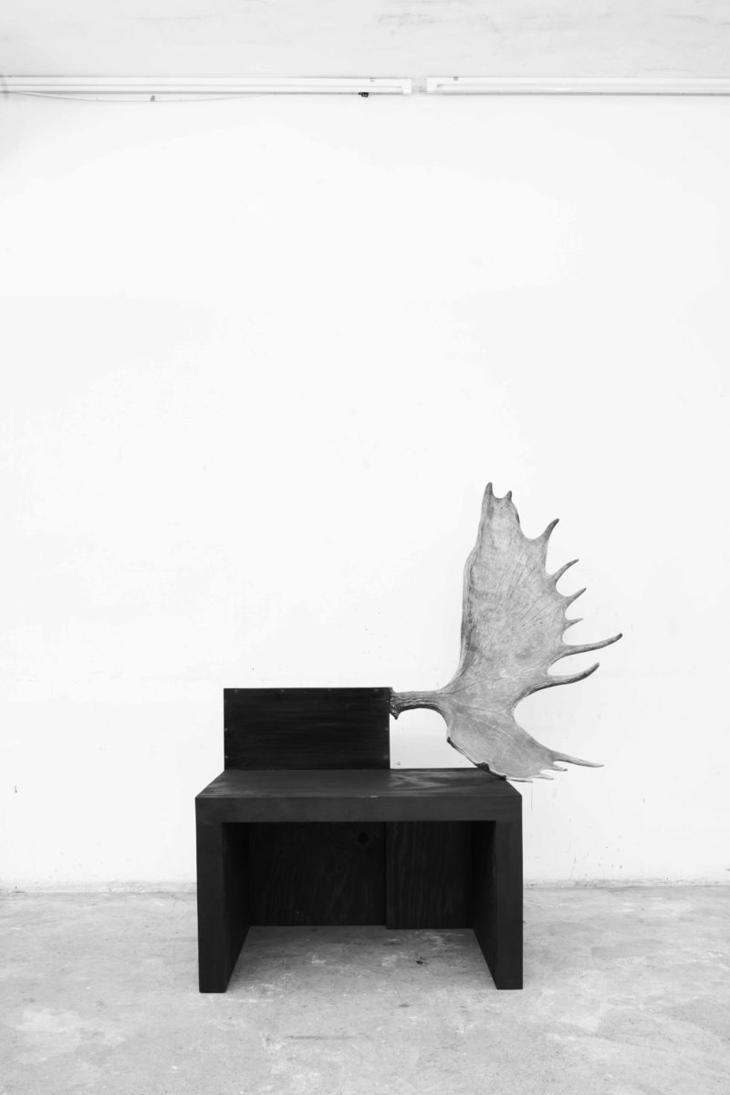 Rick Owens - Stag Bench (Right), 2006, Black Plywood, Moose Antler, Edition of 20, 98x128x58cm