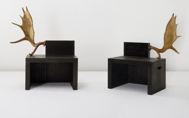 Rick Owens - Stag Bench (pair), 2006, Black Plywood, stained wood, fallow deer antlers, Edition of 20, 135.9x112.4x72.4 cm, 126x109.2x71.8 cm