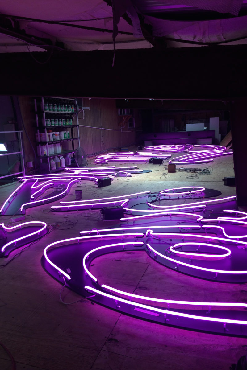 Tavares Strachan - You Belong Here, 2014, blocked out neon, 9.1x24.4m