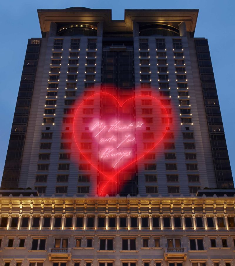 Tracey Emin – My Heart is With You Always, 2014, laser animation, The Peninsula, Hong Kong, China