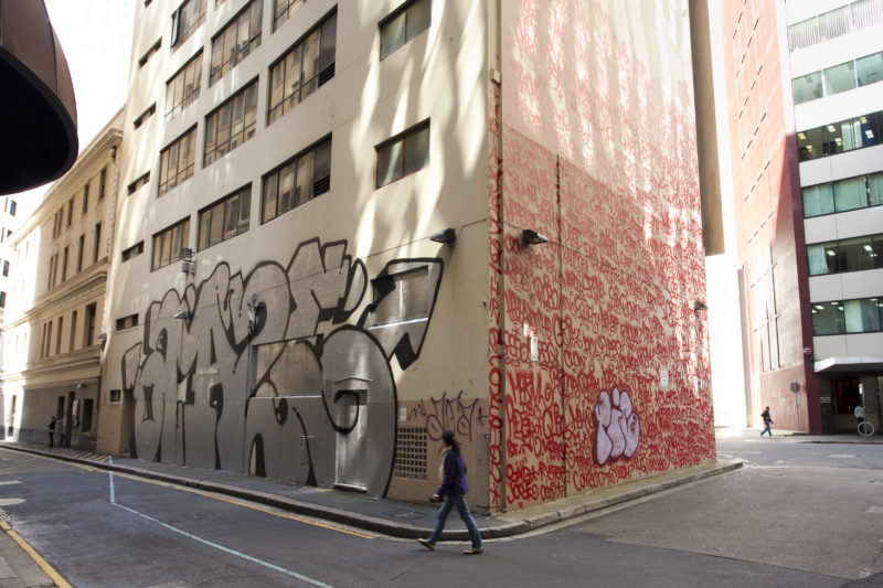 Amaze silver throw up and Barry McGee - Tag Mural in Sydney, Australia, 2011-2012, Tank Stream Way