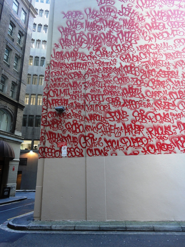 Barry McGee - Tag Mural in Sydney, Australia, 2011-2012, Tank Stream Way - partly buffed