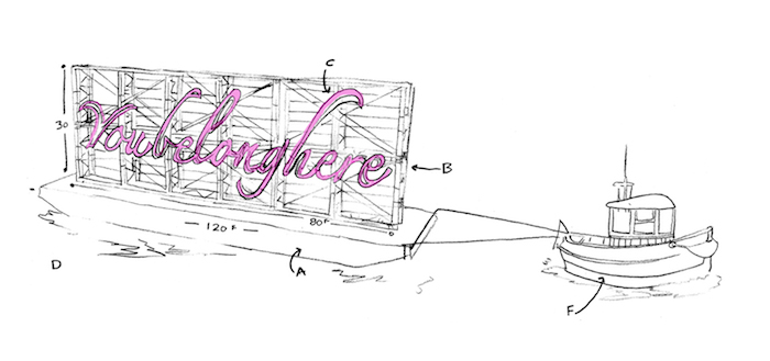 Sketch for Tavares Strachan – You Belong Here, 2014, blocked out neon, 9.1×24.4m, on Mississippi River, New Orleans, USA, for Prospect New Orleans' triennial, Prospect.3