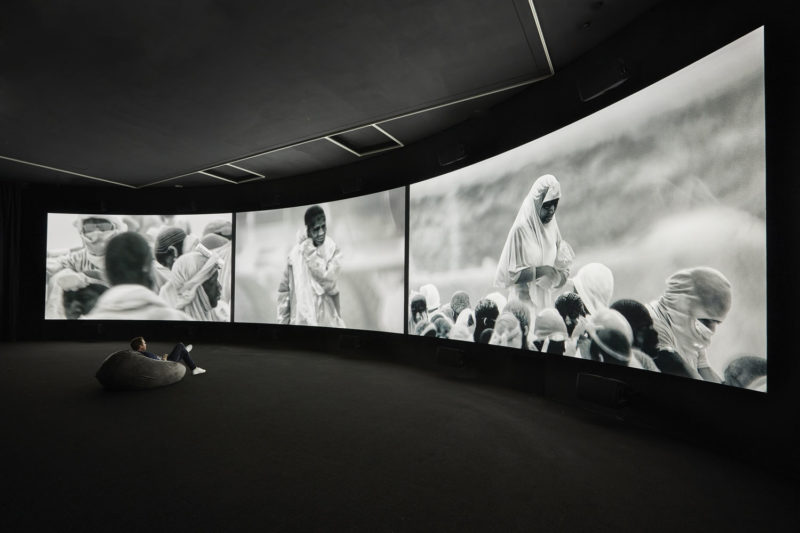 Installation view of Incoming by Richard Mosse, NGV Triennial, National Gallery of Victoria, 2017