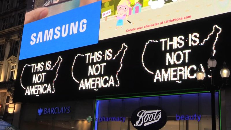 Alfredo Jaar- A Logo for America | Piccadilly Circus, London