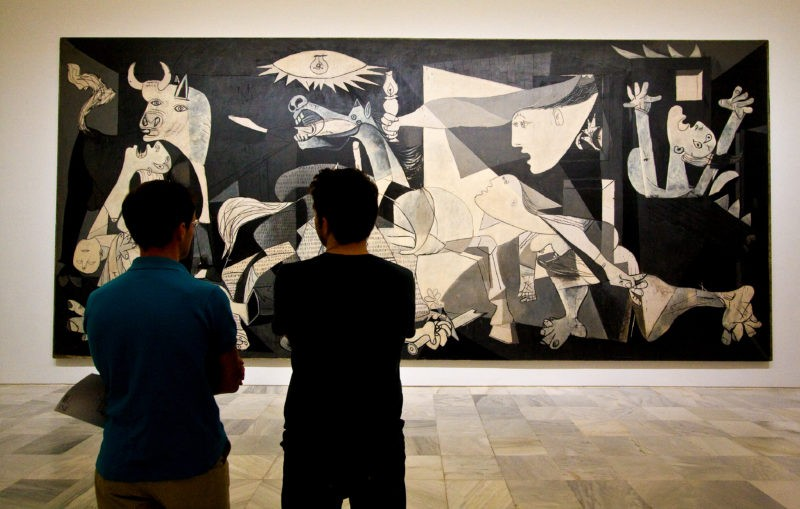 Pablo Picasso – Guernica, 1937, oil painting on canvas, 3.49 x 7.77m, installation view, Museo Reina Sofía, Madrid, Spain