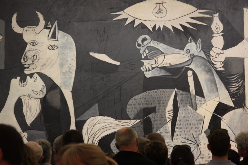 Pablo Picasso – Guernica (detail), 1937, oil painting on canvas, 3.49 x 7.77m, installation view, Museo Reina Sofía, Madrid, Spain