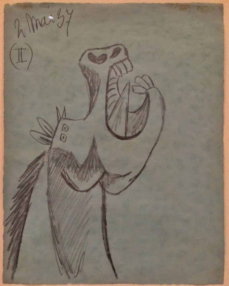 Pablo Picasso – Study for the Horse Head [II], sketch for Guernica, 2 May 1937, drawing, installation view, Museo Reina Sofía, Madrid, Spain