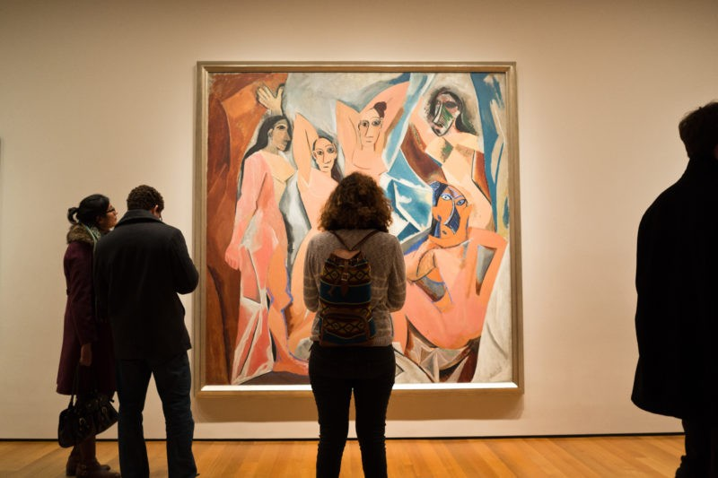 Pablo Picasso - Les Demoiselles d'Avignon, 1907, oil on canvas, 243.9 cm × 233.7 cm (96 in × 92 in), installation view, Museum of Modern Art, New York