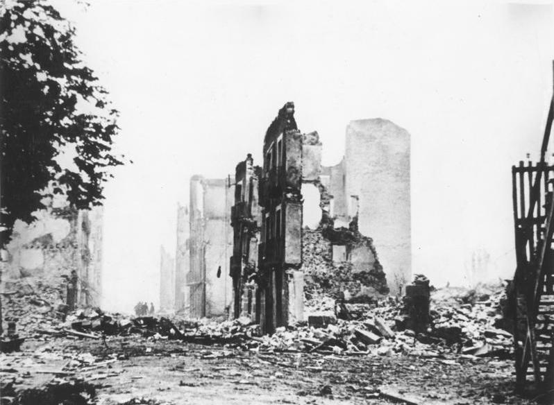 Ruins of destroyed buildings after a German air raid by the Condor Legion, Guernica, Spain, 1937