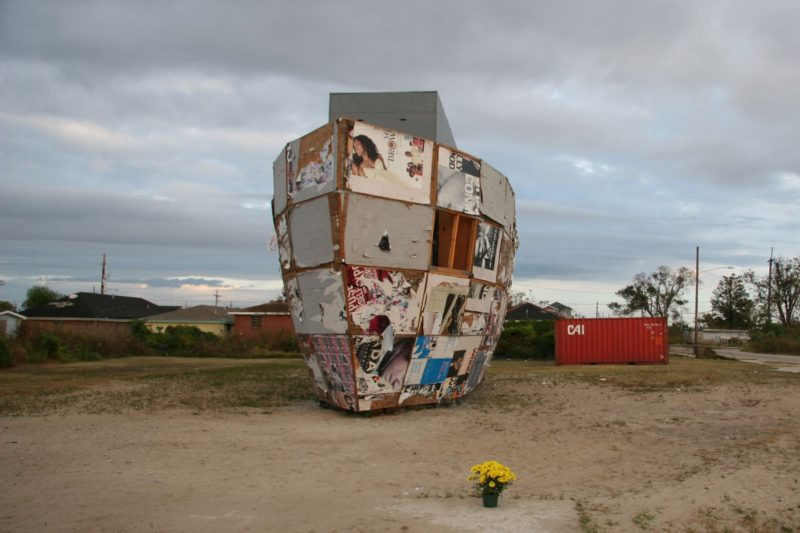 Mark Bradford – Mithra, 2008, plywood, shipping containers, steel, 2133.6 x 609.6 x 762 cm, installation view at Prospect.1, New Orleans
