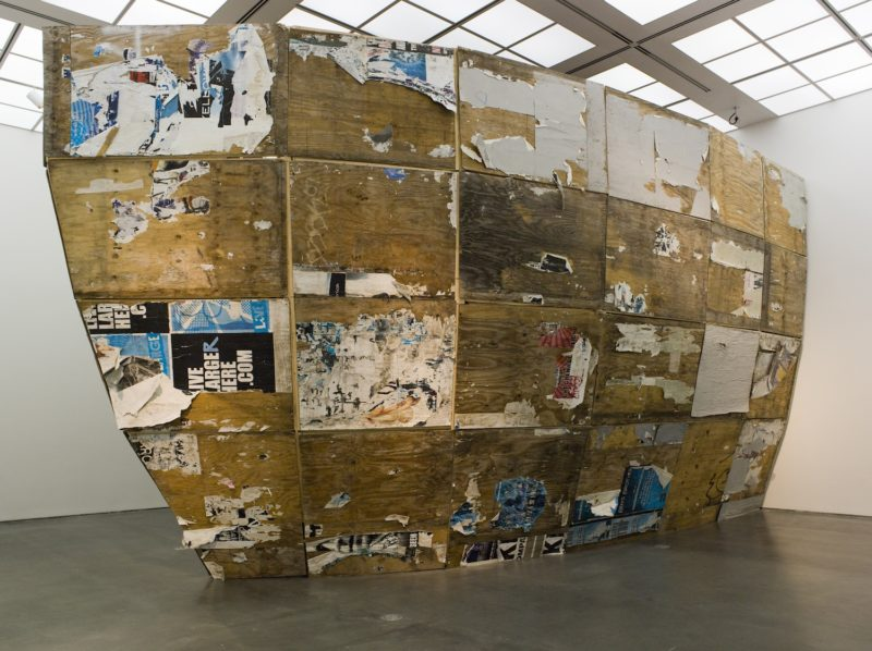 Mark Bradford - Detail, 2009–10 (parts of Mithra reassembled), plywood, found paper, adhesive, 498 x 549 x 914 cm) Installation view at the Wexner Center for the Arts