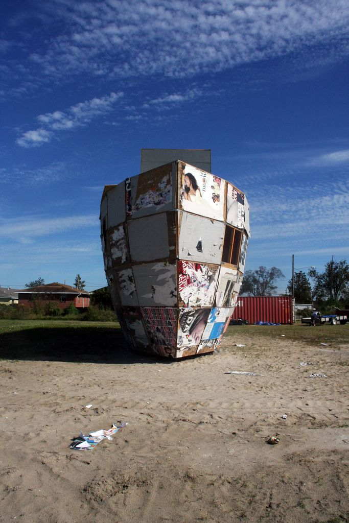 Mark Bradford - Mithra, 2008, Plywood, shipping containers, steel, 2133.6 x 609.6 x 762 cm 1