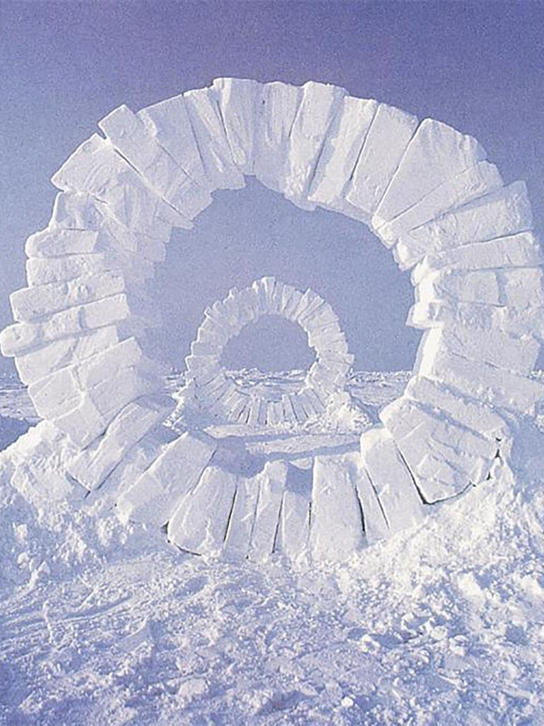 Andy Goldsworthy's four massive ice sculptures at the North Pole