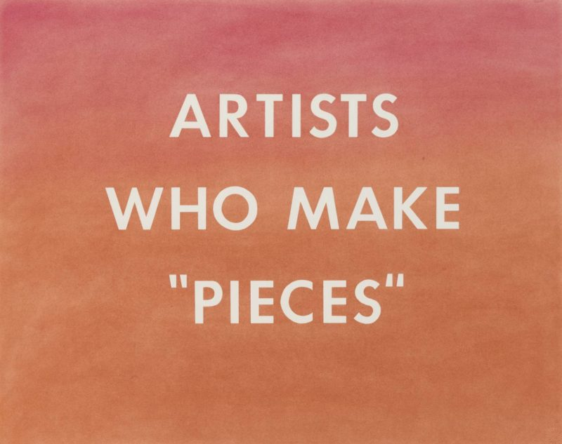 """Ed Ruscha - ARTISTS WHO MAKE """"PIECES"""", 1976, Pastel on paper, 57,8 x 72,6 cm"""