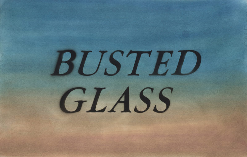 Ed Ruscha - Busted Glass, 2014, dry pigment and acrylic on paper, 15 x 22.375 inches