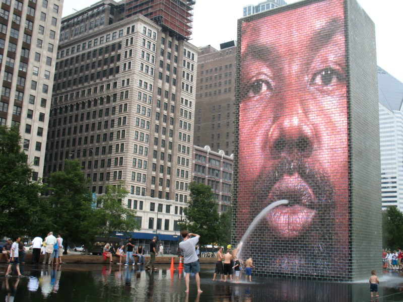 Jaume Plensa - Crown Fountain, 2004, Glass, stainless steel, LED screens, light, wood, black granite and water, 16 m, Millennium Park, Chicago, Illinois, USA
