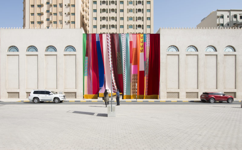 Joe Namy - Libretto-o-o- A Curtain Design in the Bright Sunshine Heavy with Love, 2017. Curtain, Stereo Sound. Commissioned by Sharjah Art Foundation