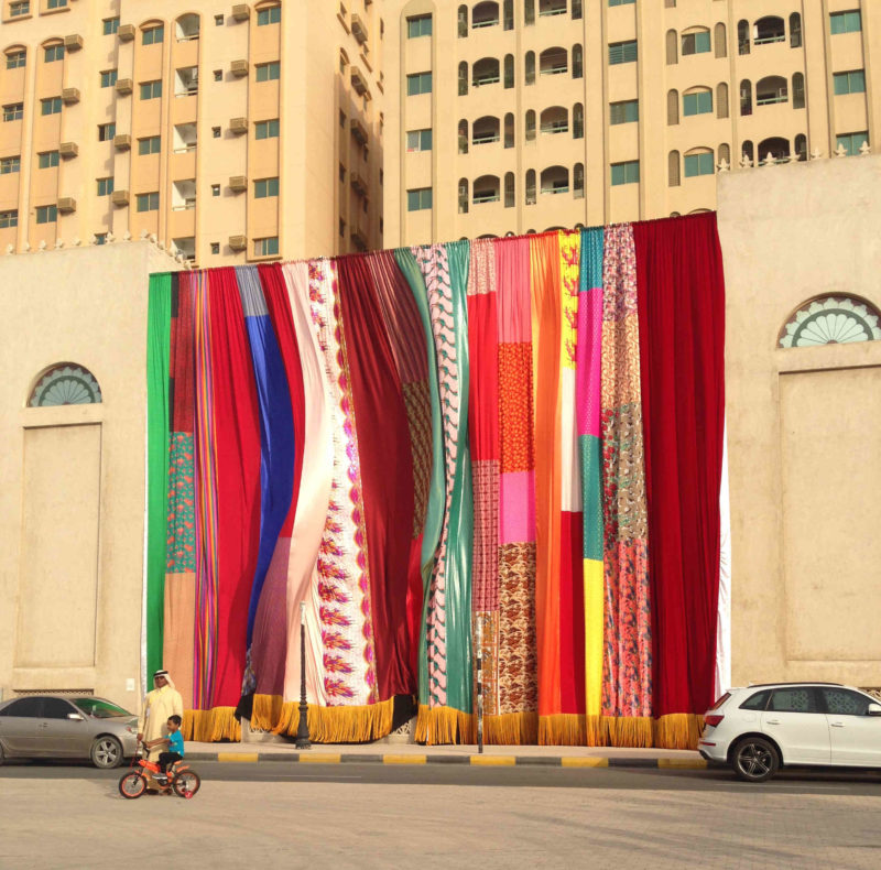 Joe Namy - Libretto-o-o- Curtain Design In The Bright Sunshine Heavy With Love. Installation view, Sharjah Biennial 13.