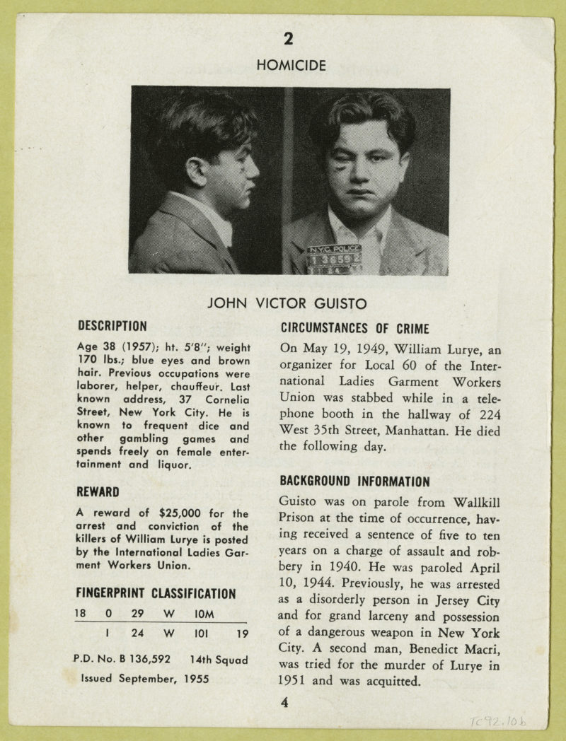 Page from 'The Thirteen Most Wanted', Police Department, City of New York