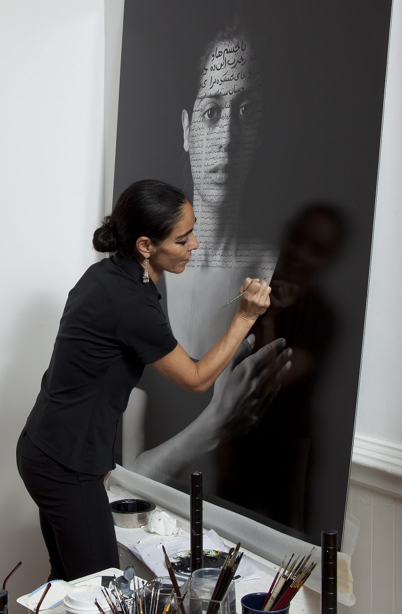 """Shirin Neshat in her studio working on Roja from """"The Book of Kings"""""""