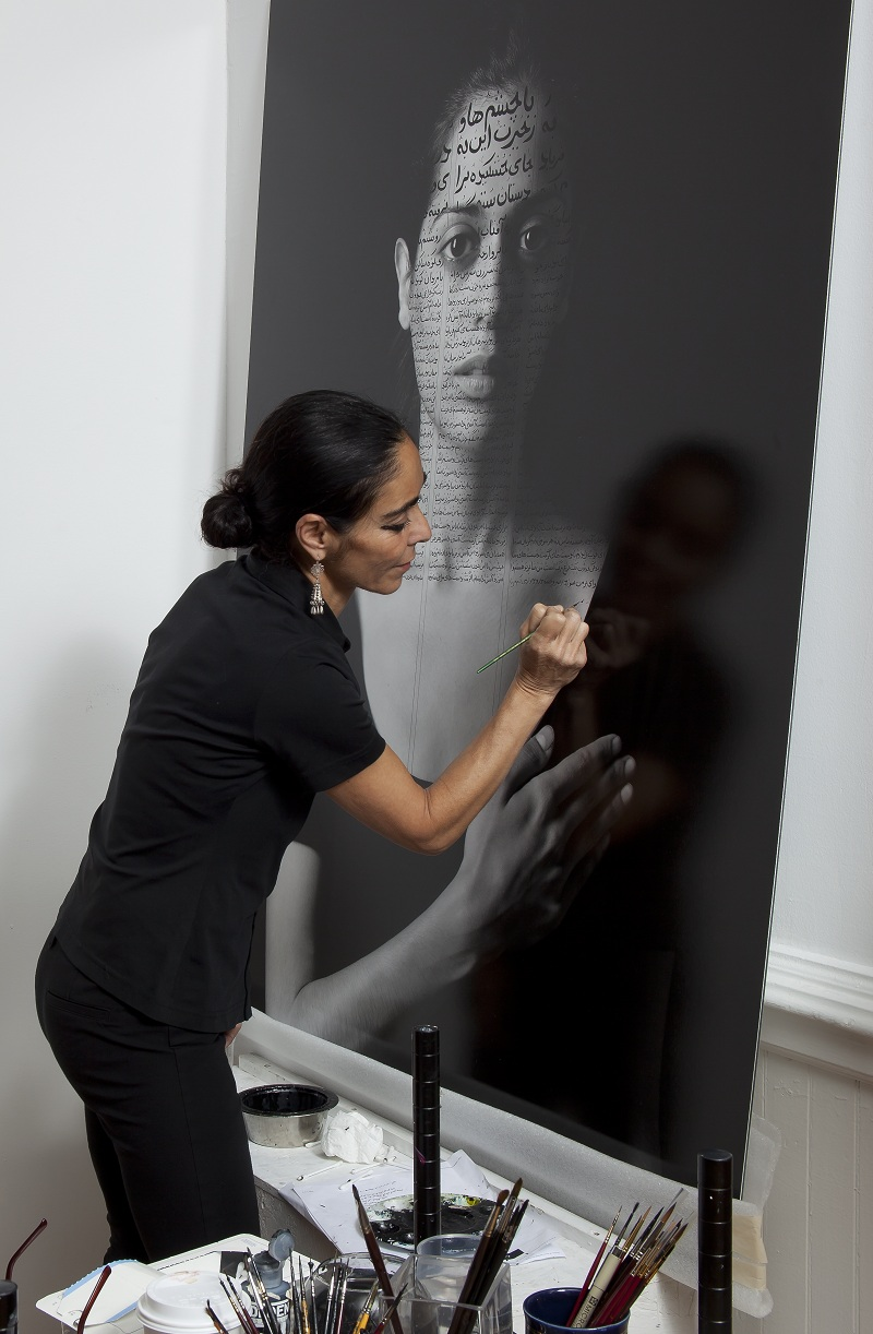 "Shirin Neshat in her studio working on Roja from ""The Book of Kings"""