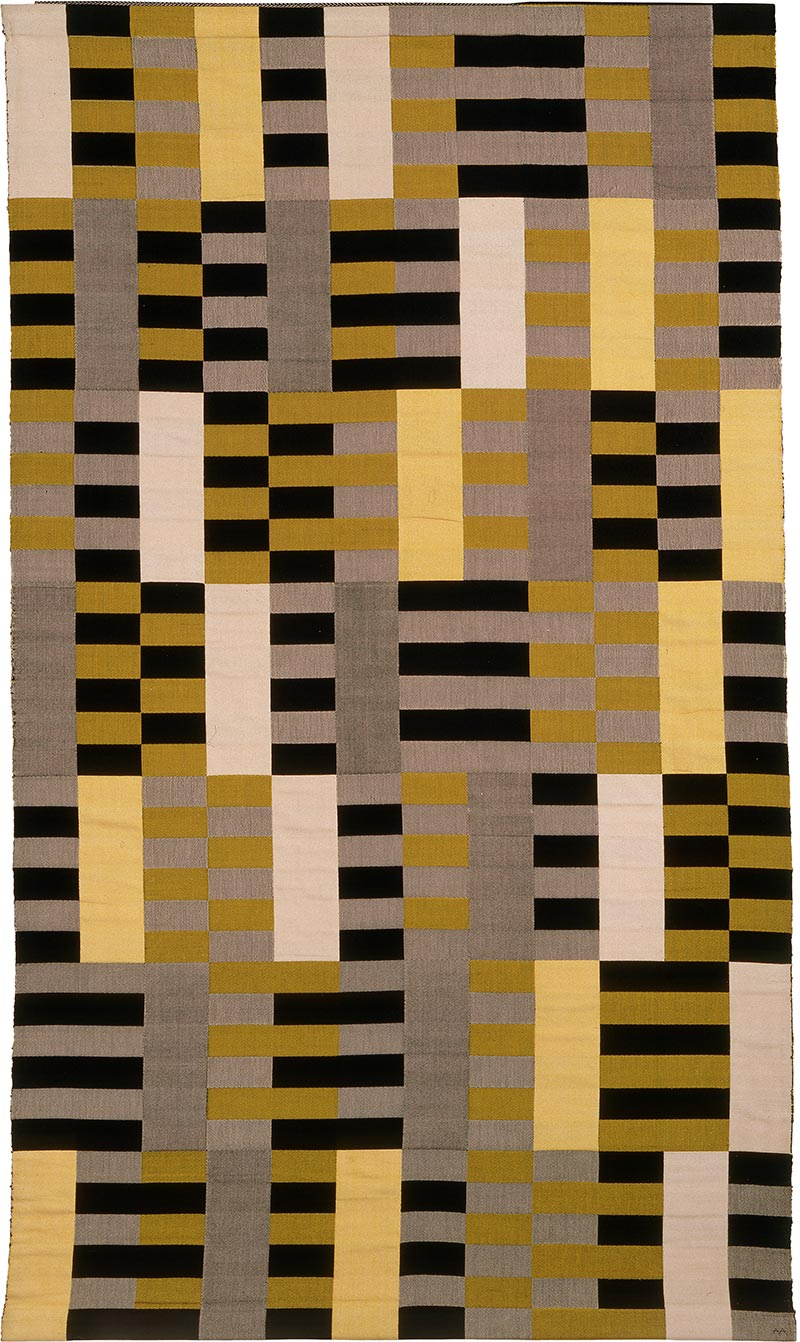 Anni Albers - Black White Yellow, 1926:1964, silk and rayon 80 × 47 in. (203 × 119 cm)