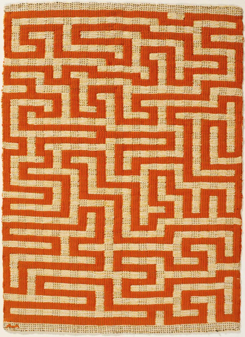 Anni Albers - Red Meander, 1954, linen and cotton, 52 × 37.5 cm