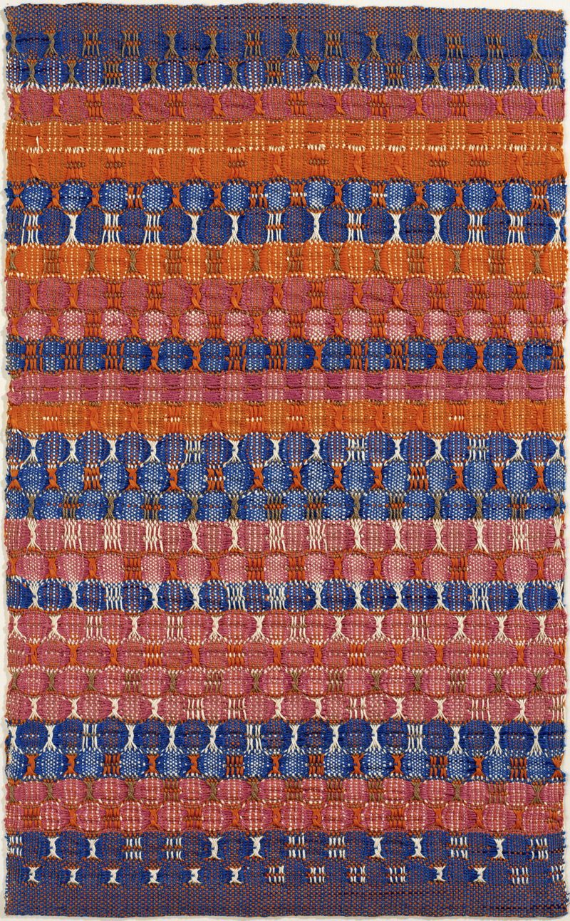 Anni Albers - Red and Blue Layers, 1954, Cotton, 61.6 x 37.8 cm.