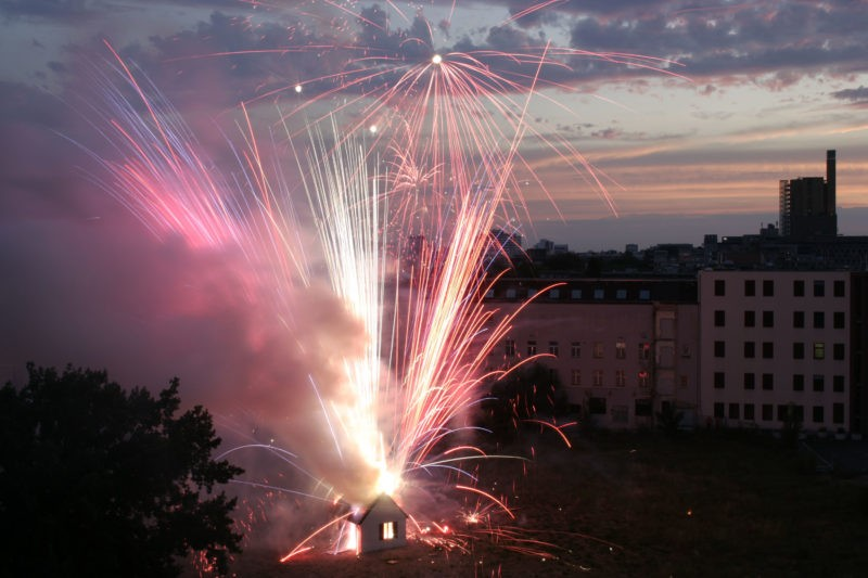 Cai Guo-Qiang – Illusion II: Explosion Project, 2006, 2,000 assorted firework shells, plaster, wood, and cardboard, realized at Möckernstraße / Stresemannstraße, Berlin, July 11, 9:30 p.m., 18 minutes, photo: Hiro Ihara