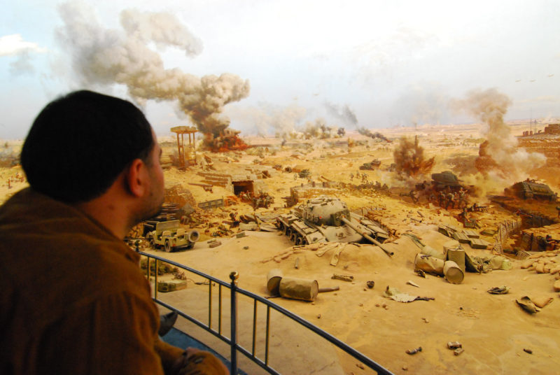 Israeli counter attack picture in the 360 degree rotating panorama of the 6 October War Memorial in Cairo, Egypt