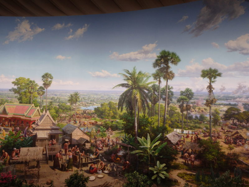 Mural depicting historical scenes of everyday life in medieval Khmer kingdom, Angkor Panorama Museum, 2012 - Siem Reap, Cambodia