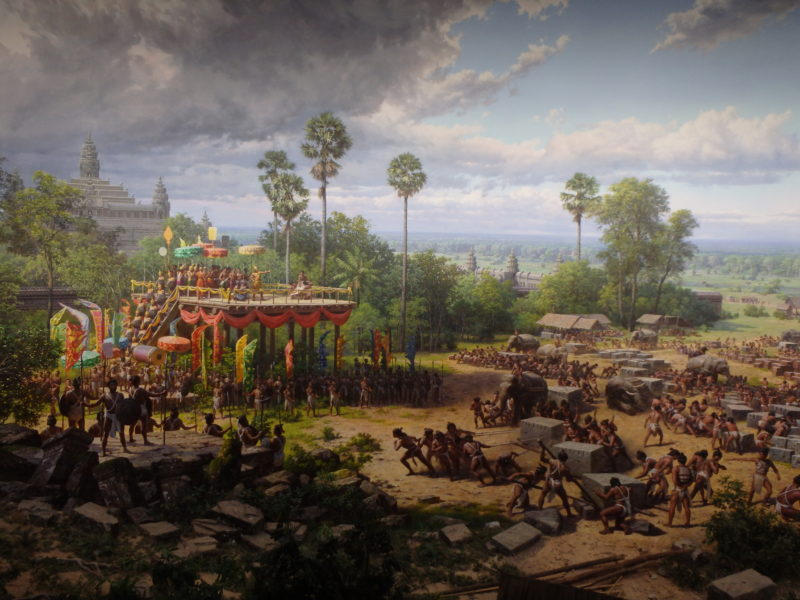 Mural depicting scenes from the construction of medieval Angkor temples, Angkor Panorama Museum, 2012 - Siem Reap, Cambodia
