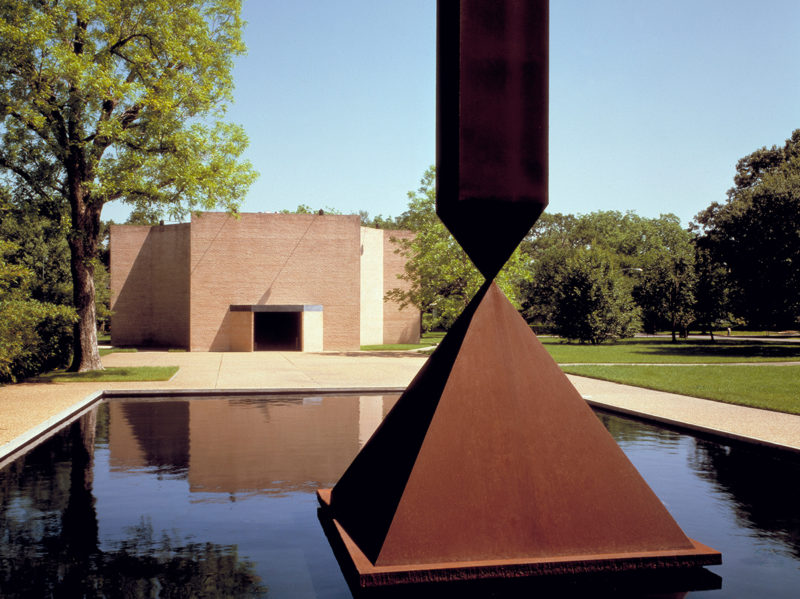 Rothko Chapel exterior with Broken Obelisk by Barnett Newman at the Rothko Chapel, Houston, Texas