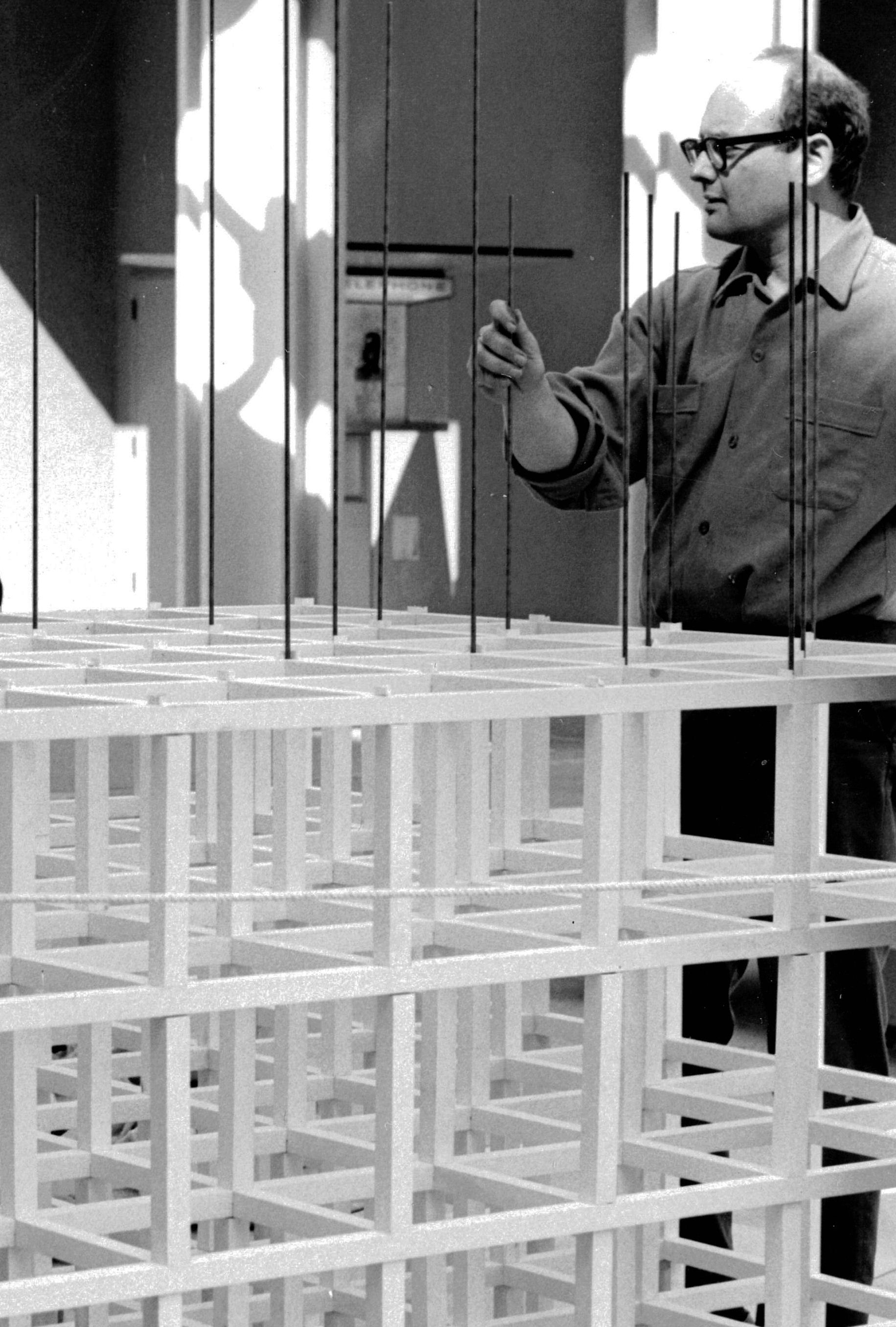 Sol LeWitt portrait with sculpture