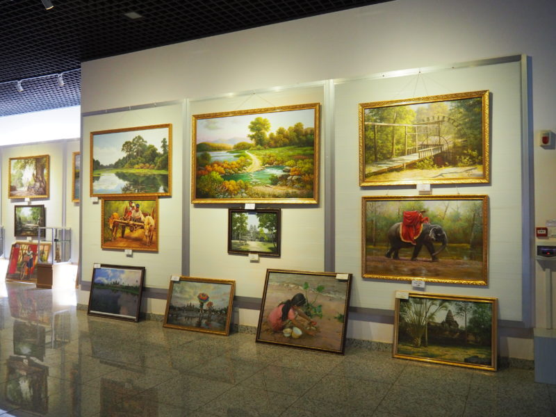 The museum sells paintings by Mansudae artists but mostly of Cambodian scenes, Angkor Panorama Museum, 2012 - Siem Reap, Cambodia