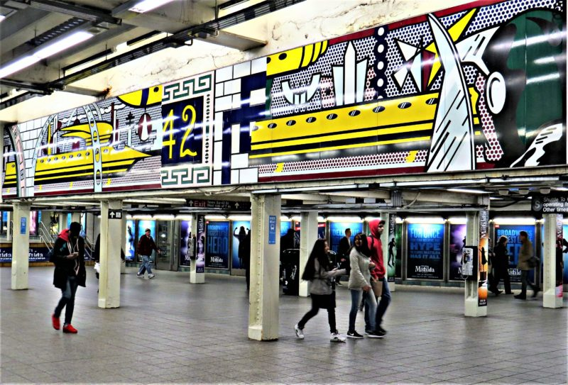Roy Lichtenstein – Times Square Mural, 1990 (fabricated 1994; installed 2002), Porcelain enamel on steel, 16 panels, 1.85 x 16.26 m (overall), 73 x 640 1/2 inches, NYC Times Square, 42nd Street Station, New York City