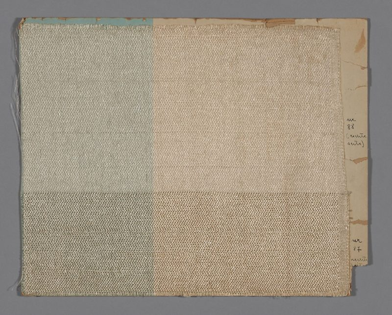 Otti Berger - Sample (Upholstery Fabric), 1919–1933, Cellophane, weft band, weft-float faced broken reversed twill weave, 31.8 x 38 cm (12 1/2 x 15 in.), artic.edu