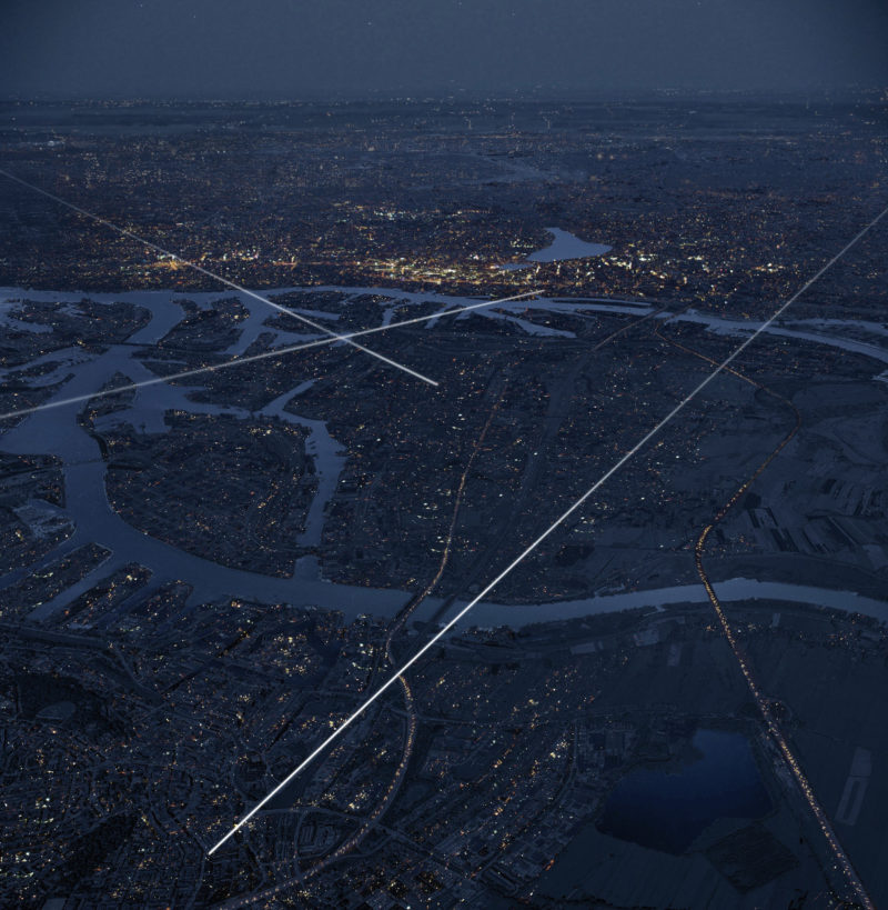 Anthony McCall - Crossing the Elbe, 2013, rendering