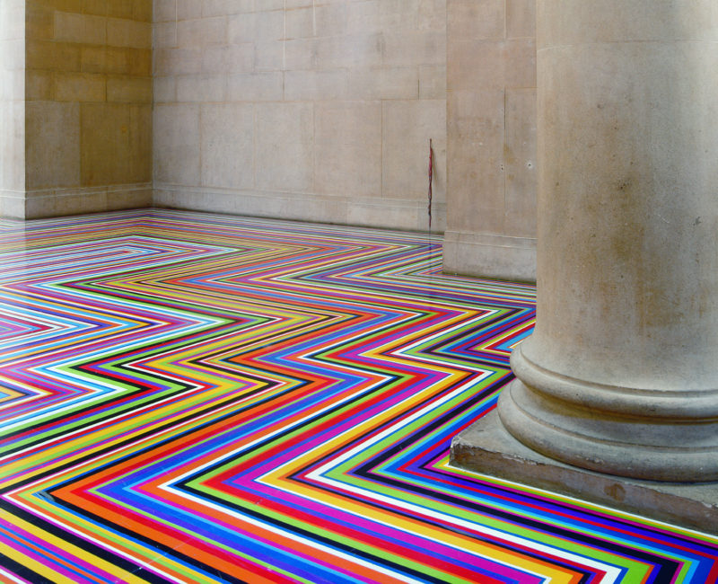 Jim Lambie - Zobop, 2005, colored vinyl on floor, dimensions variable, installation view at Tate, 2009