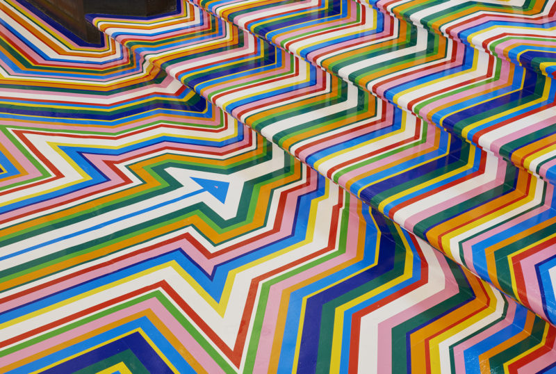 Jim Lambie - Zobop Stairs (Colour), 2003:2015, Colour vinyl tape, Dimensions variable, Installation view, Royal Academy of Arts, London, 2015
