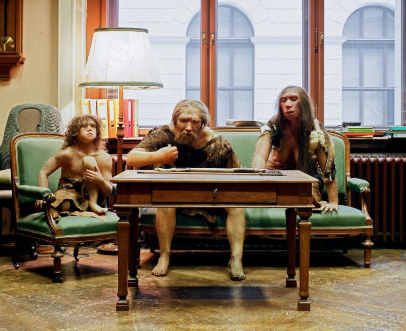 Klaus Pichler - Neanderthal family on a couch of the Museum of Natural History, Vienna, 2010, from Skeletons in the Closet