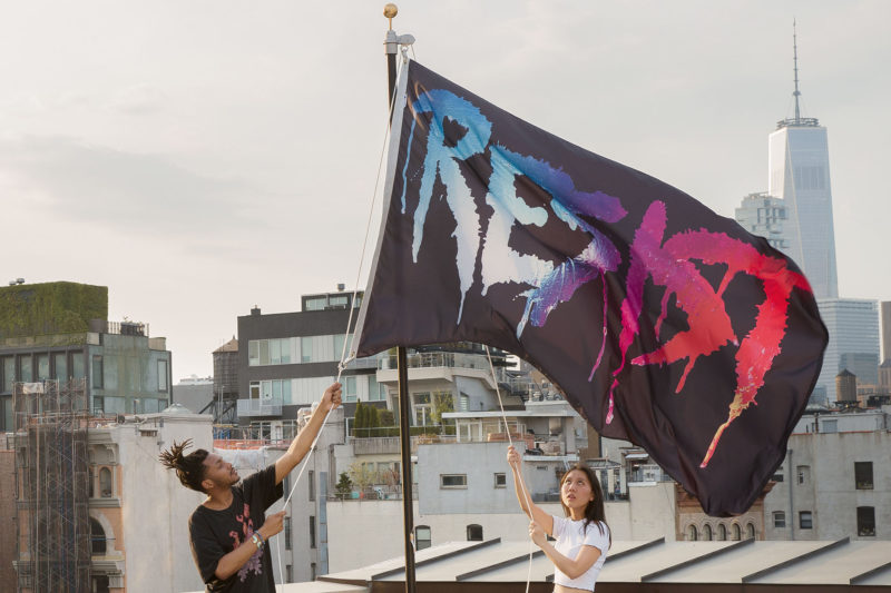 Marilyn Minter - Resist Flag, Photo by Guillaume Ziccarelli