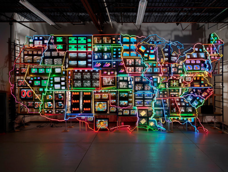 Nam June Paik – Electronic Superhighway - Continental U.S., Alaska, Hawaii, 1995, fifty-one channel video installation (including one closed-circuit television feed), Smithsonian American Art Museum