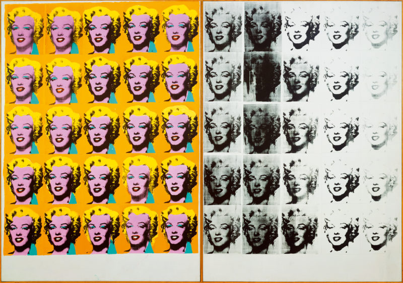 Andy Warhol - Marilyn Diptych, 1962, acrylic, silkscreen ink, and graphite on linen, two panels, 205.4 x 289.6 cm (80 7/8 x 114 in.) overall. Tate, London