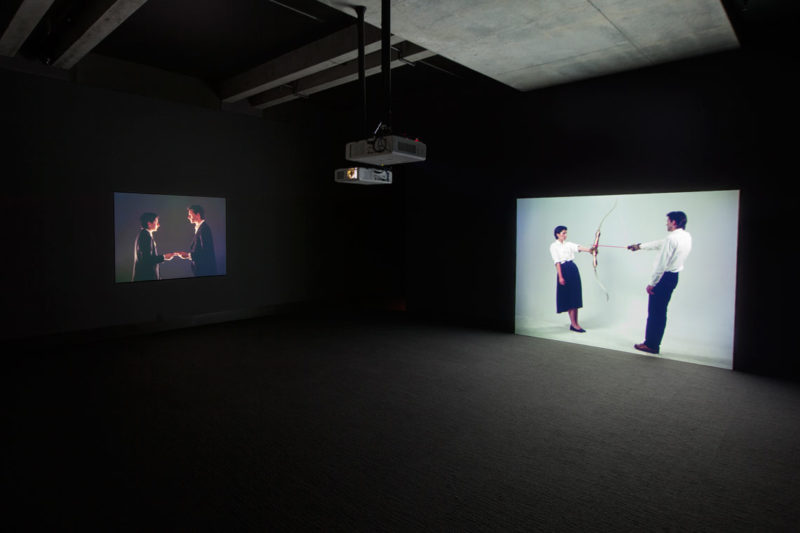 Installation view of Marina Abramović and Ulay's Point of Contact (1980) and Rest Energy (1980). © MONA:Rémi Chauvin. Image courtesy of Mona – Museum of Old and New Art, Hobart, Tasmania, Australia